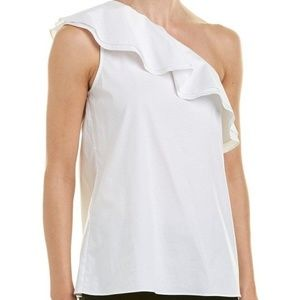 Vince Camuto One-Shoulder Ruffle Blouse Sz L NWT!